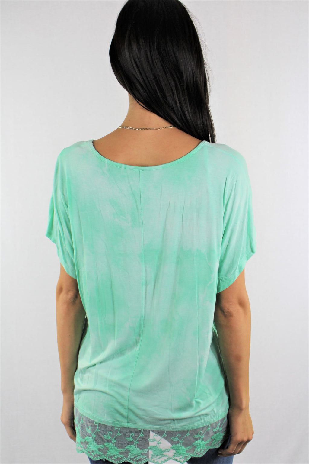 Women's Lace Hem Detail Tie Dye Top