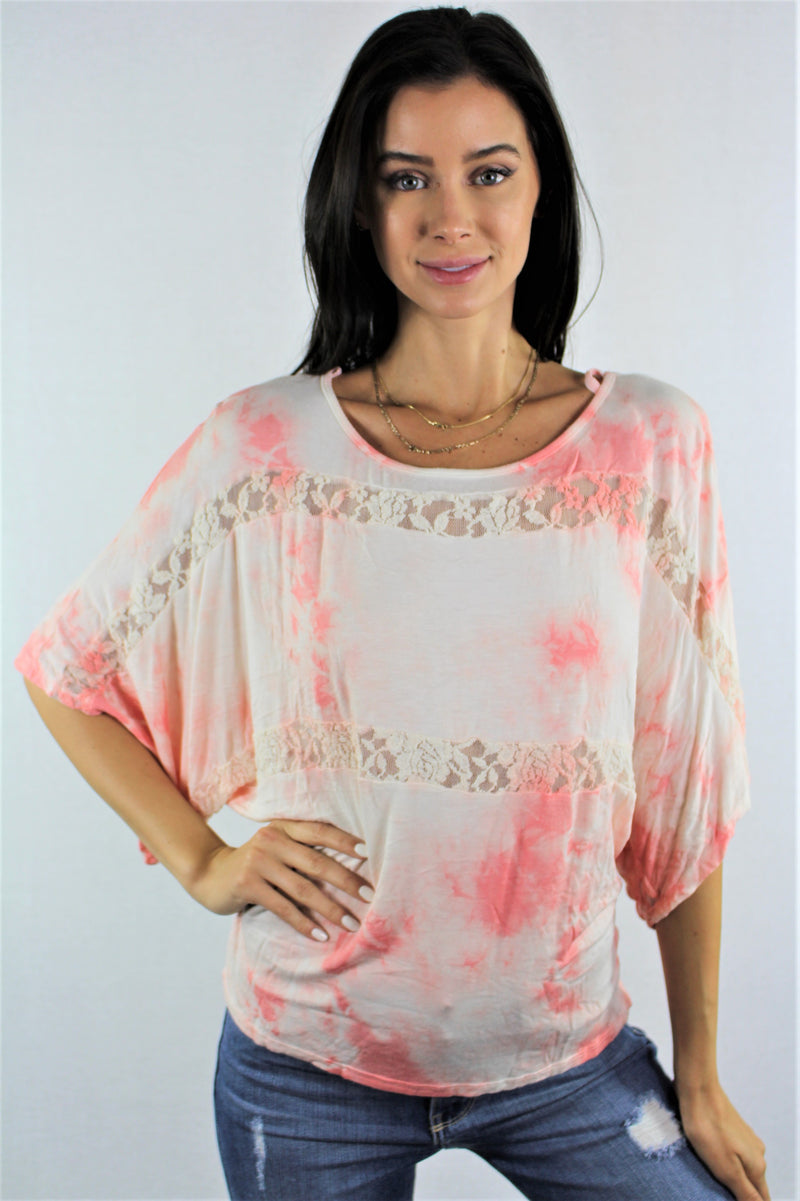 Women's Batwing Sleeve Tie Dye Top with Lace Detail