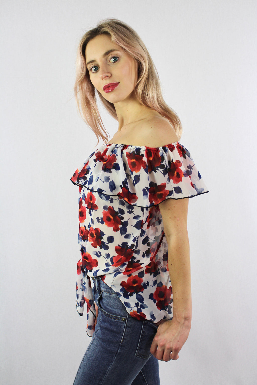 Women's Off Shoulder Ruffled Floral Top