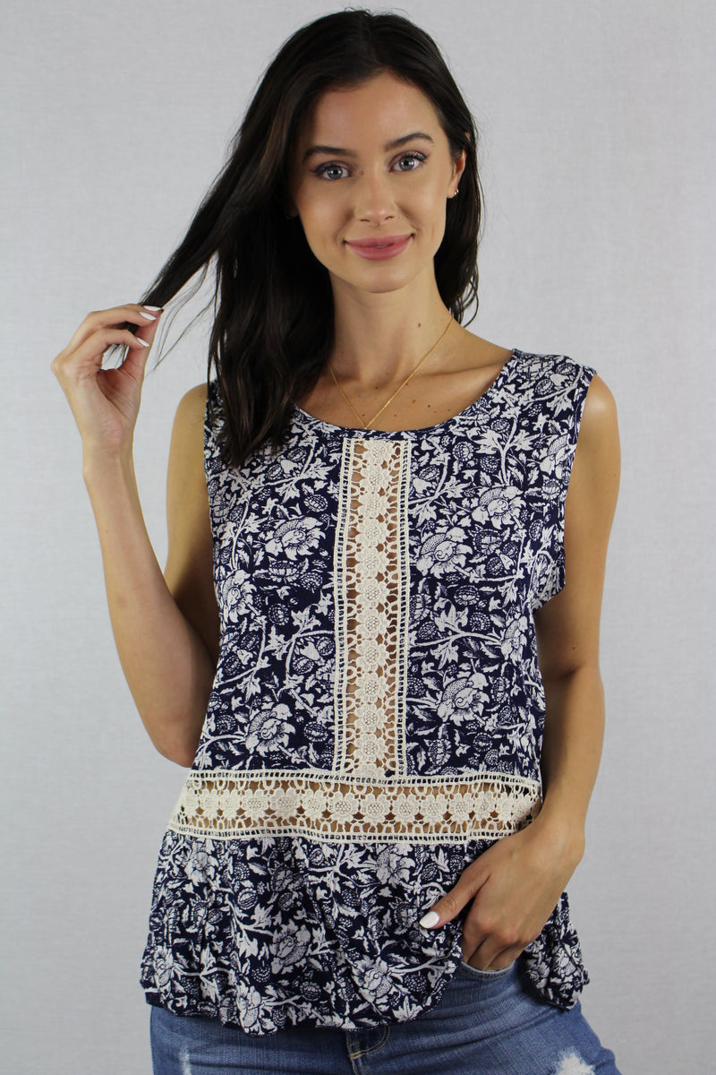 Women's Sleeveless Top with Crochet Detail