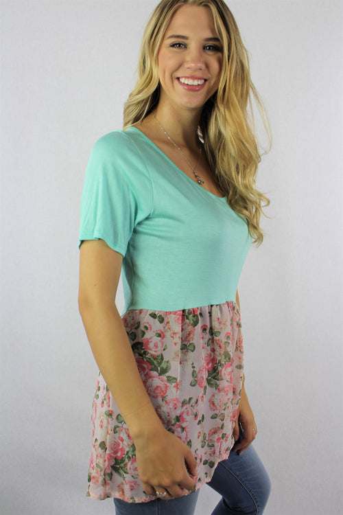 Women's Short Sleeve Top with Half Floral Detail