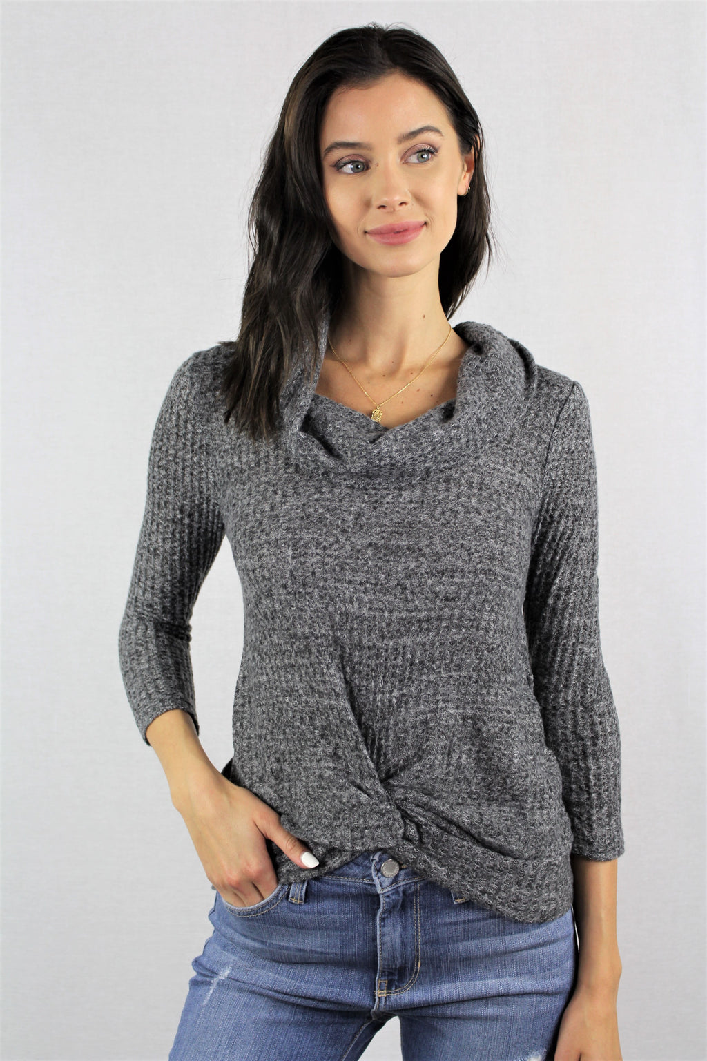 Women's 3/4th Sleeve Cowl Neck with Front Twist