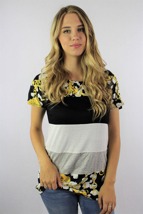 Women's Short Sleeve Color Block Top with Print Detail