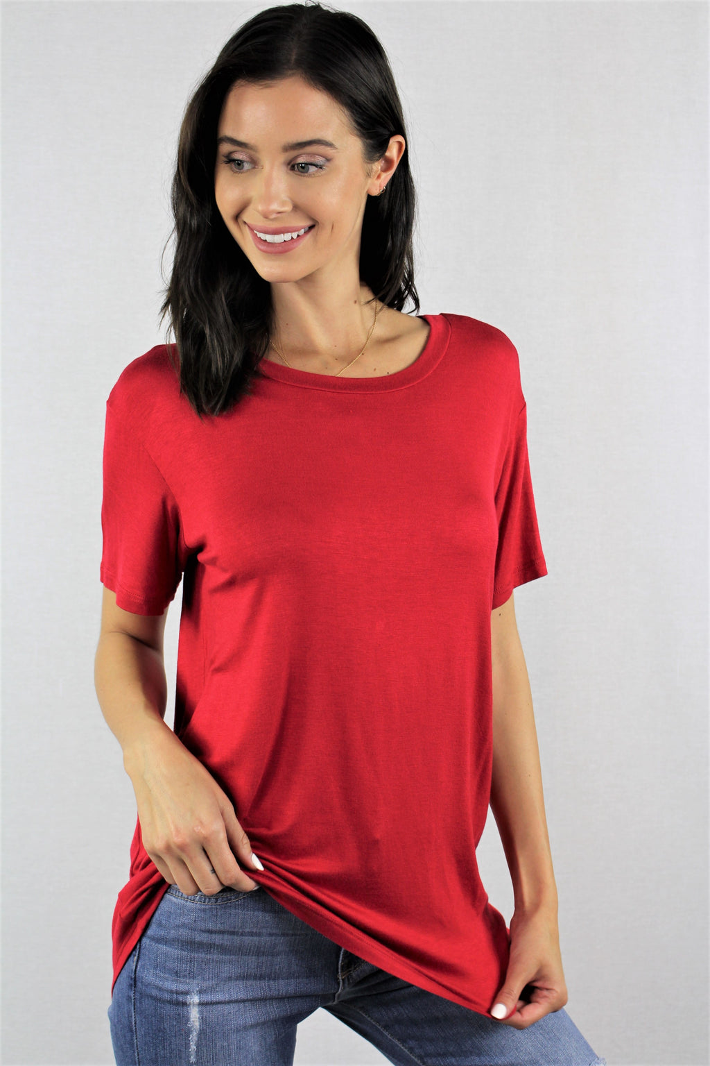 Short Sleeve Relaxed Fit Solid Tee
