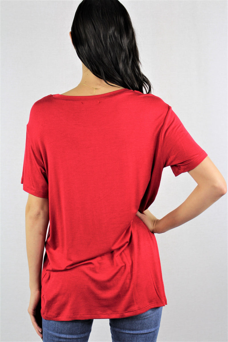 Women's Short Sleeve Relaxed Fit Solid Tee