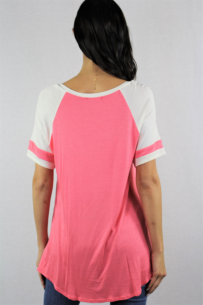 Short Sleeve Round Neck Baseball Tee