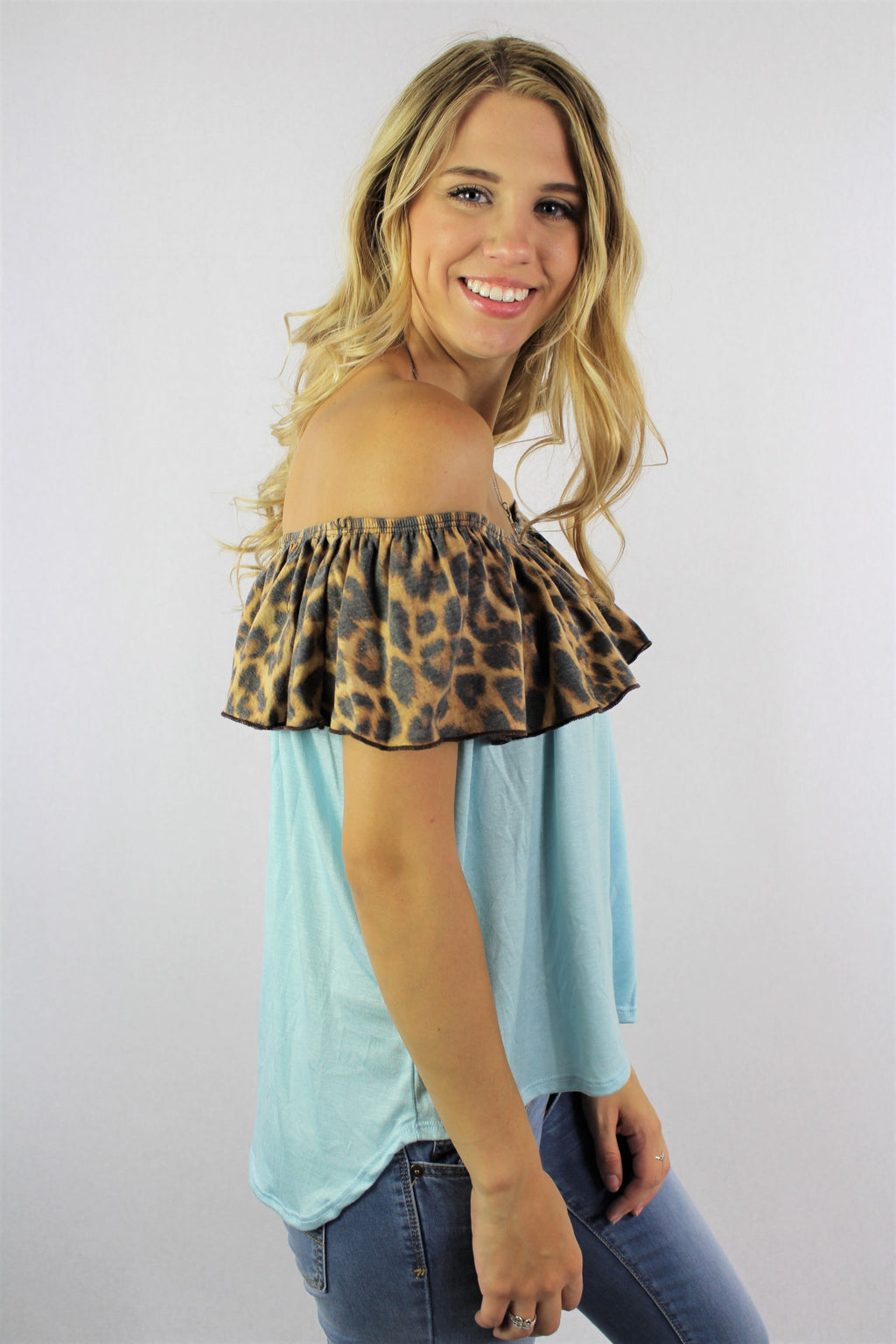 Women's Off Shoulder Dual Tone Top