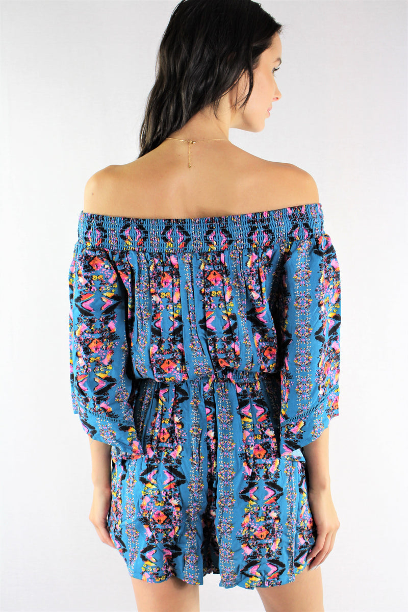 Women's Off Shoulder Printed Romper