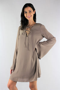 Flared Sleeve Tunic Top with String Detail