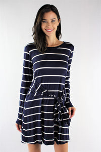 Long Sleeve Stripes Dress with Front Knot