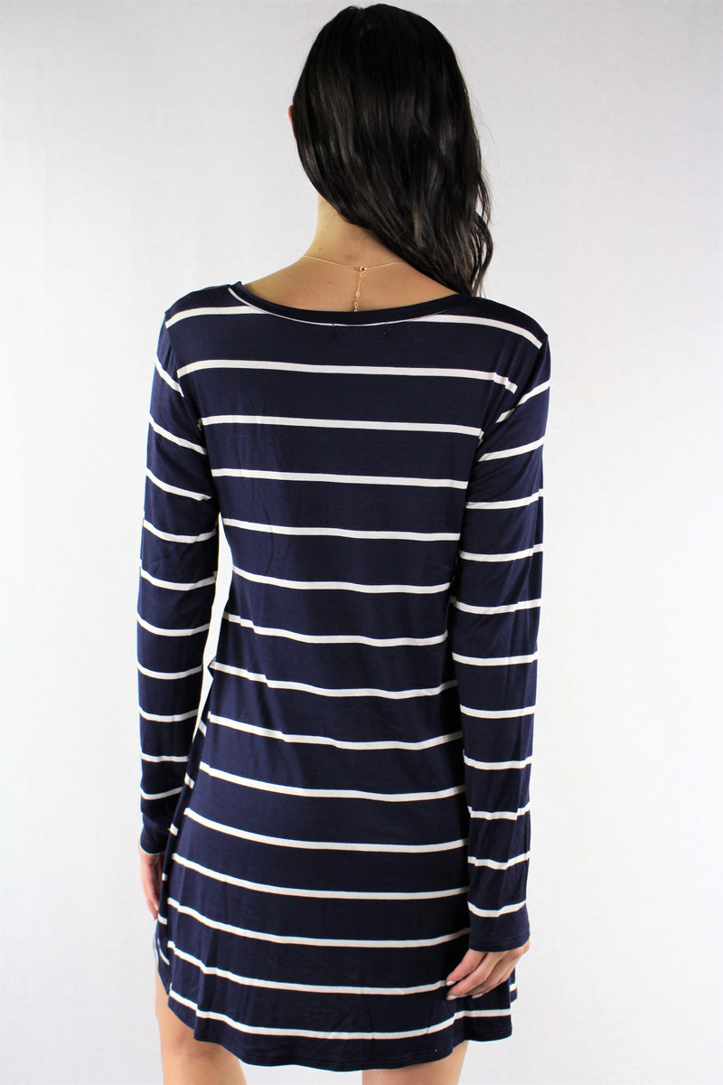 Women's Long Sleeve Stripes Dress with Front Knot
