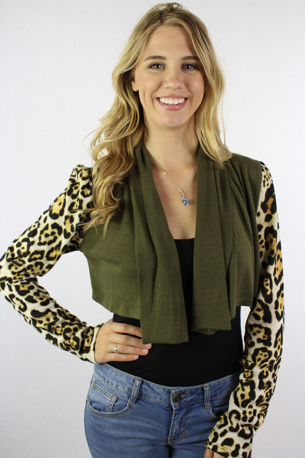Women's Animal Print Sleeve Crop Cardigan