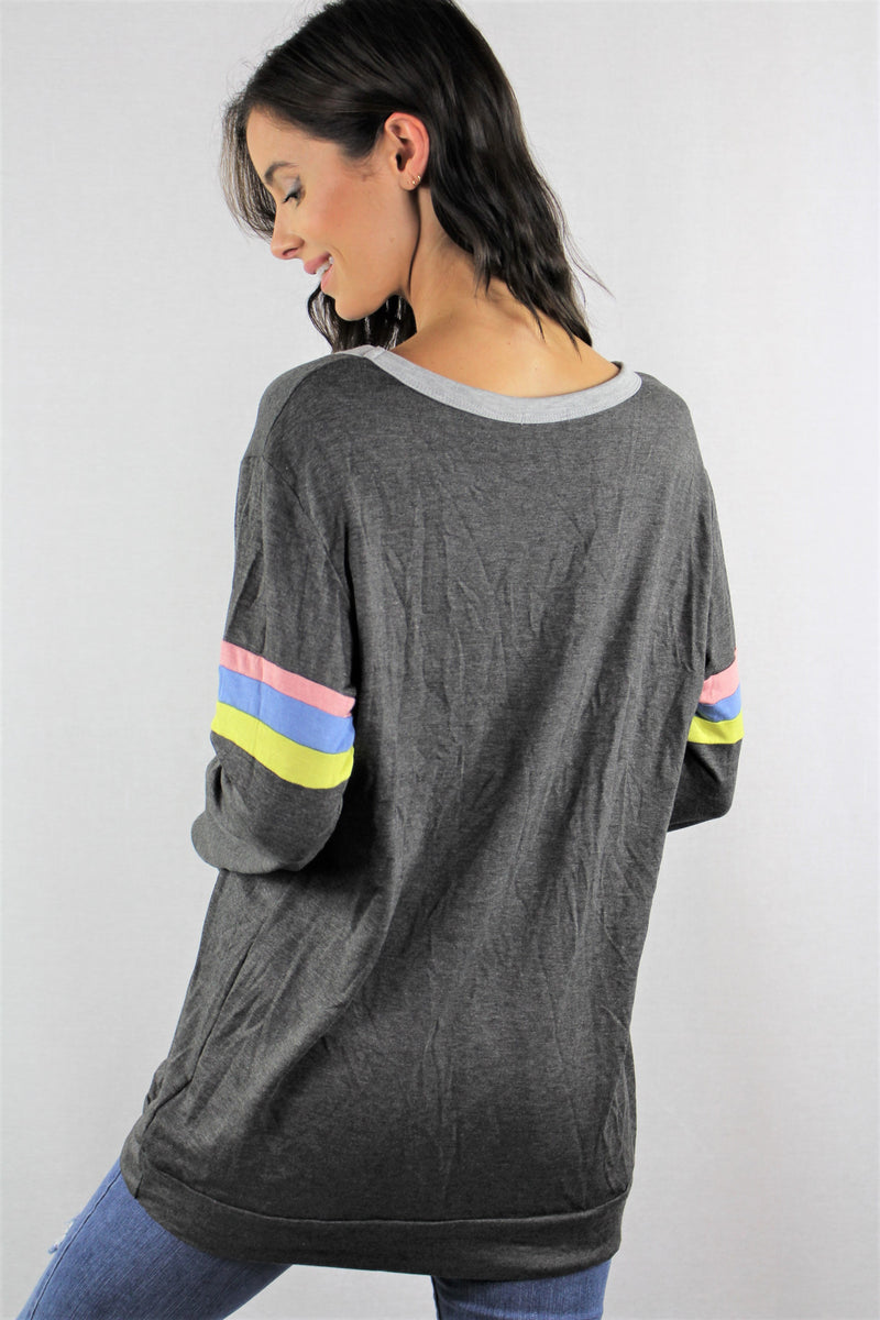 Long Sleeve Round Neck French Terry Top