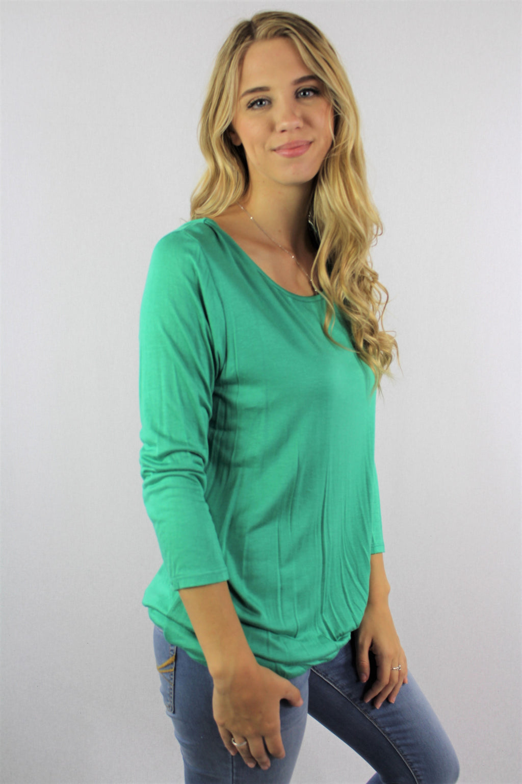 Women's 3/4th Sleeve Round Neck Top with Front Knot