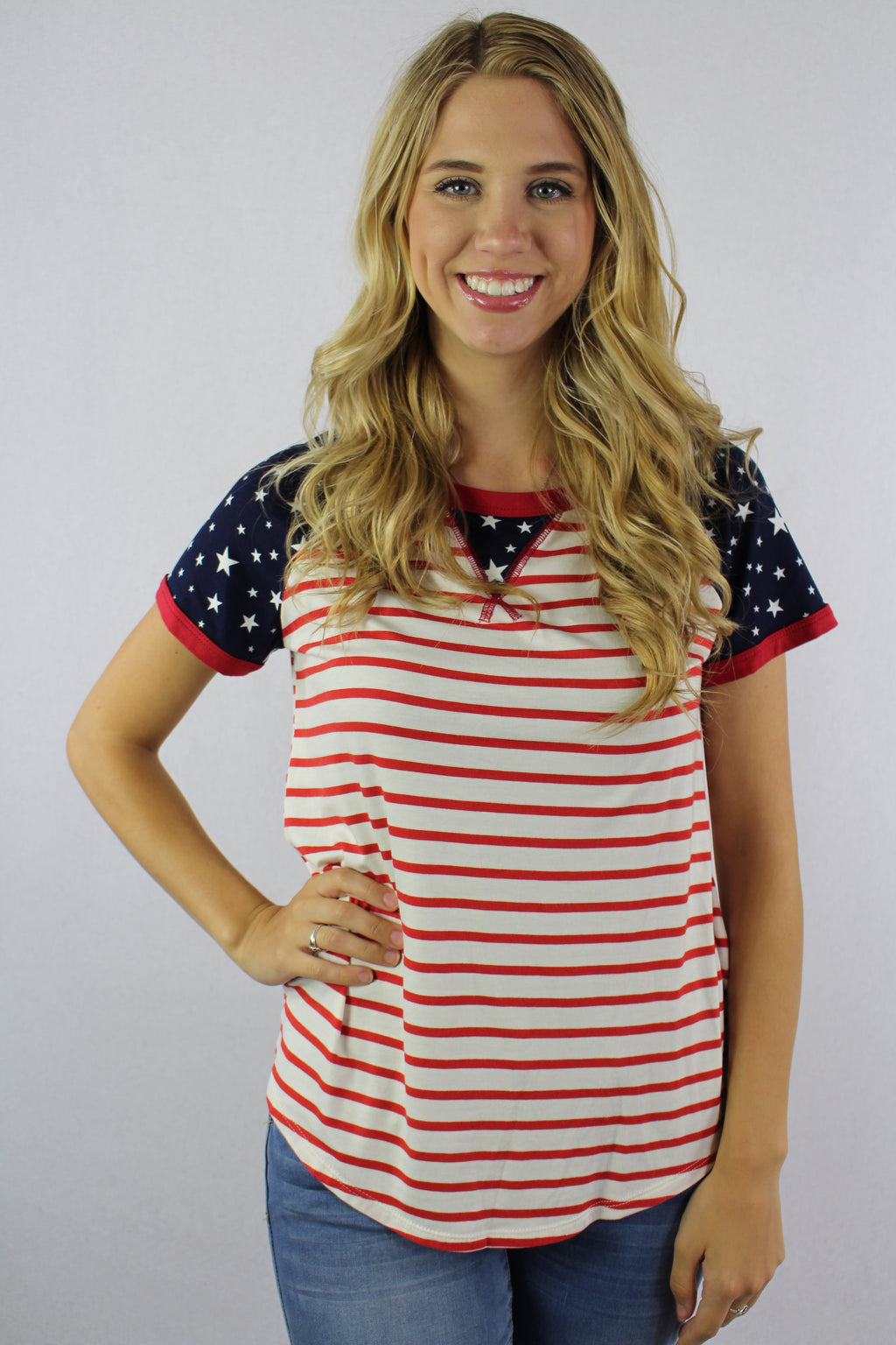 Women's Short Sleeve Stripe Top with Stars