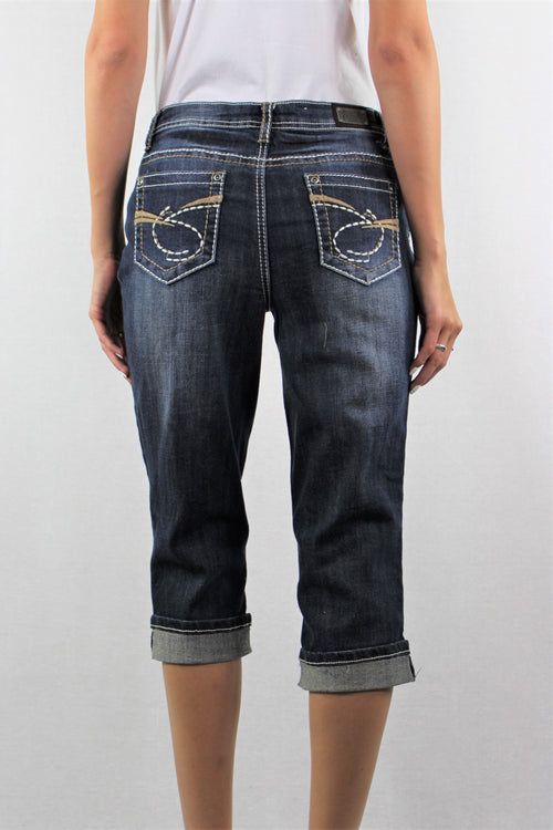 Dark Blue Knee Length Jeans