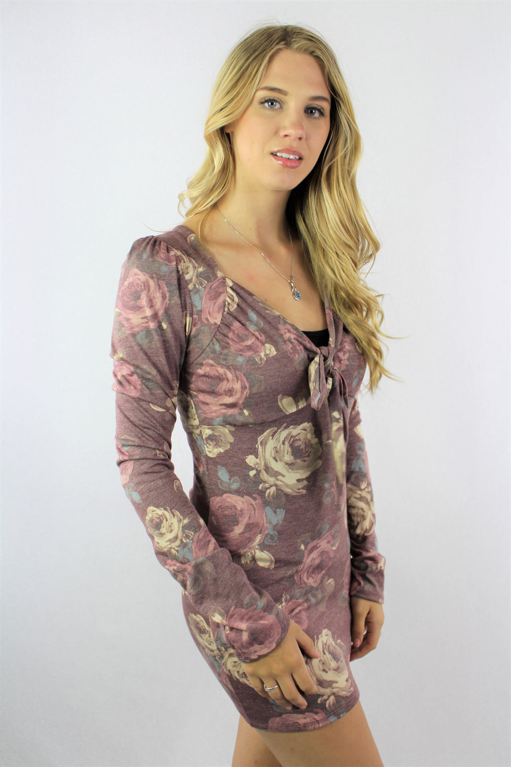 Women's Long Sleeve Body Fit Floral Mini Tunic Dress