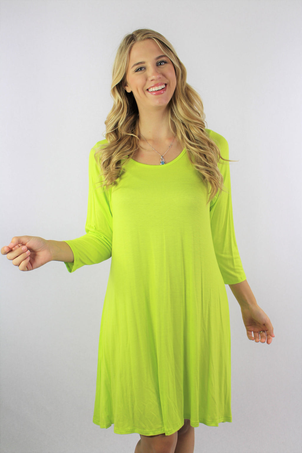 Women's 3/4th Sleeve hi Low Flowy Tunic Dress