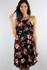 Strappy Floral Mini Dress with Ruffle Lining