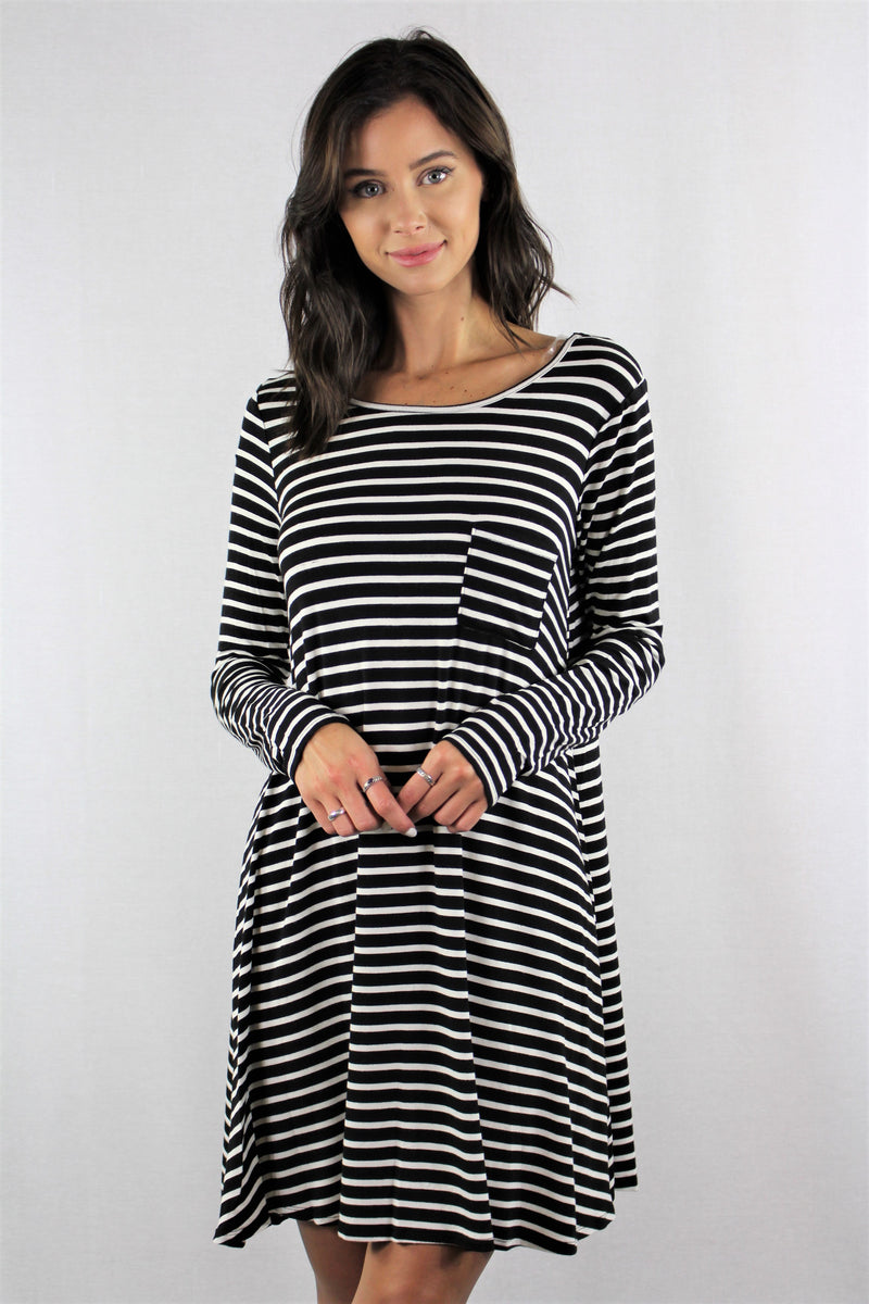 Long Sleeve Dress with Front Pocket