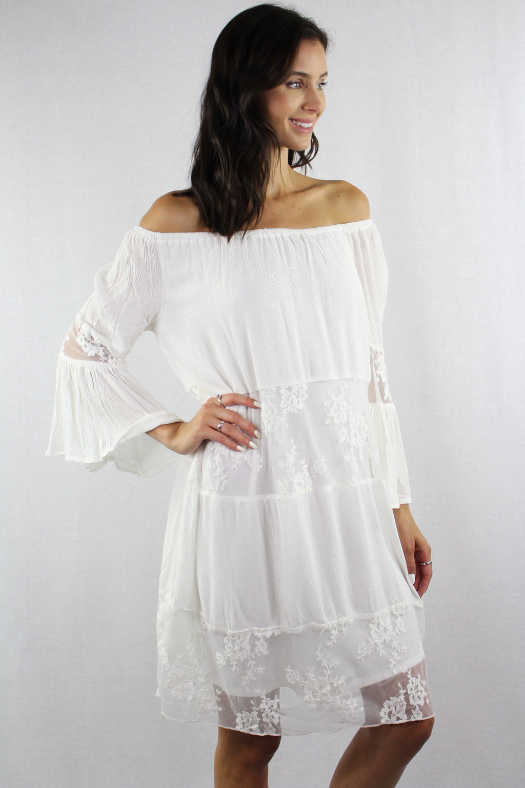 Off Shoulder Bell Sleeve Dress with Lace Detail