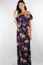 Off Shoulder Floral Maxi Dress with Front Slit