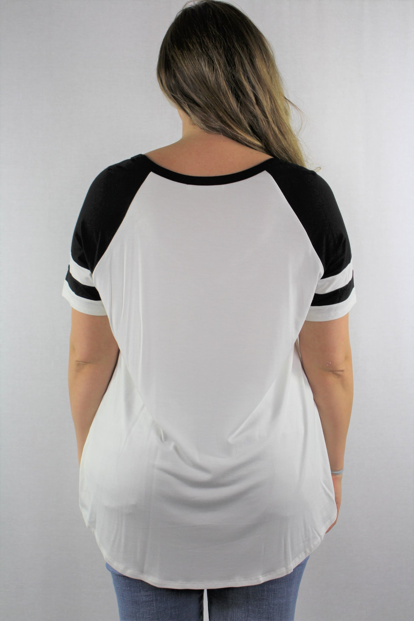 Plus Size Wide Round Neck Baseball Tee