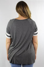 Plus Size  Baseball Tee with Front Knot