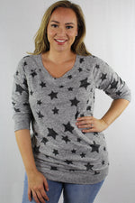 Plus Size 3/4th Sleeve Lightweight Knit Crew Neck Top