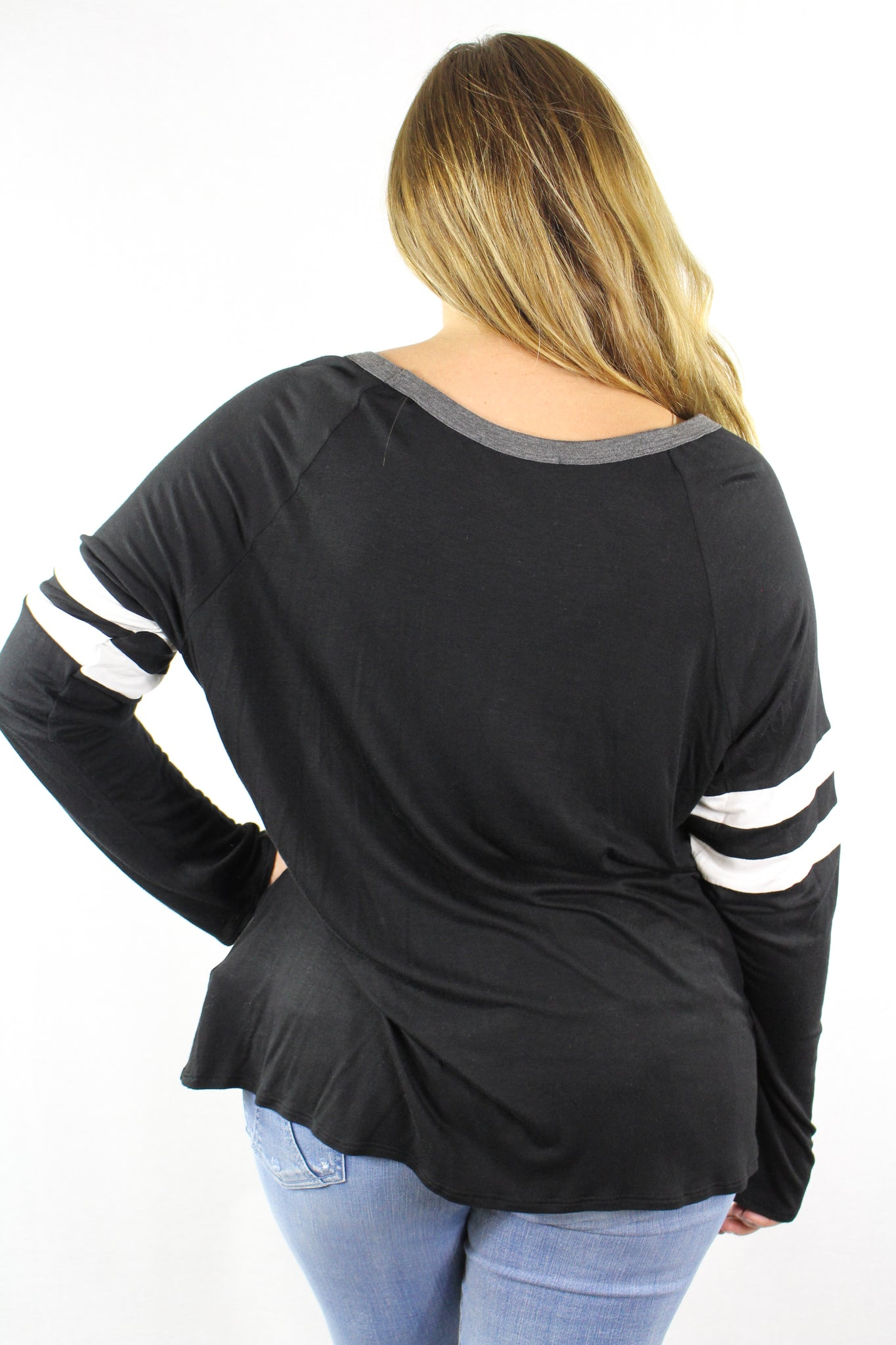 Plus Size Long Sleeve Stripe Top
