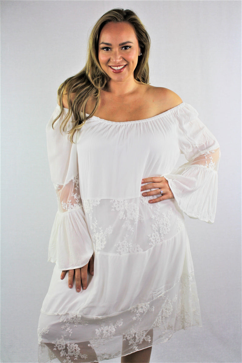 Plus Size White Dress With Lace Detail