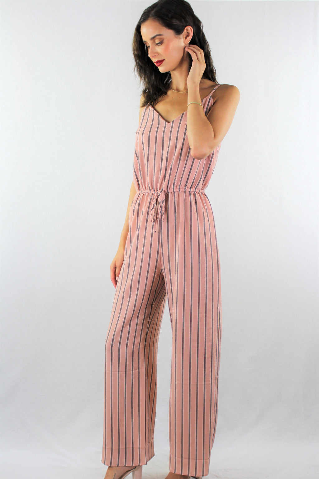 Strappy Jumpsuit with Stripe Detail