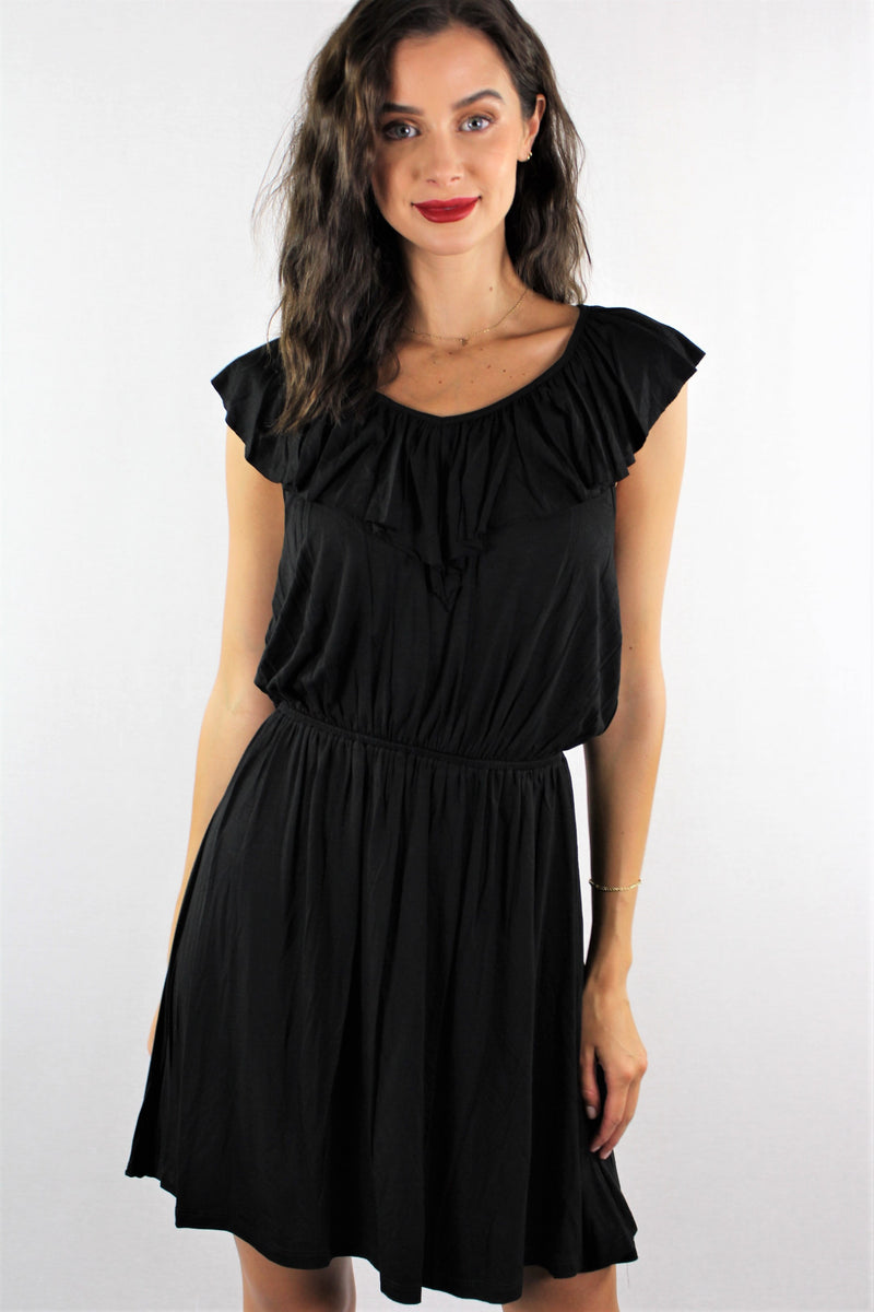 Women's Elastic Waist Mini Dress with Ruffle Lining
