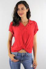 Women's Rolled Cuff Knotted Hem Top