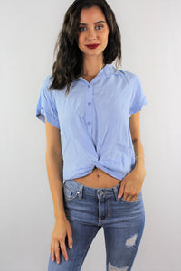 Rolled Cuff Knotted Hem Top