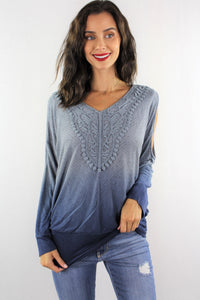 Dip Dye Cold Shoulder with Crochet Detail
