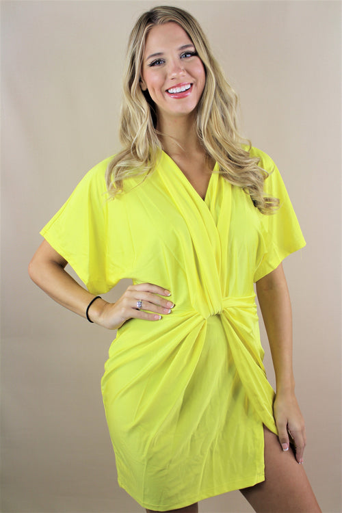Women's Wide Hem Sleeve Neon Dress with Front Knot