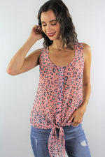 Sleeveless Chiffon Top with Front Knot *