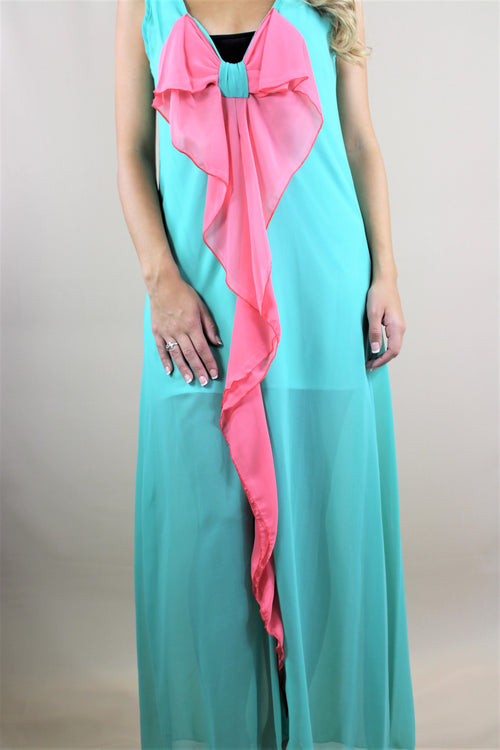Women's Sleeveless Maxi Dress with Ribbon Detail