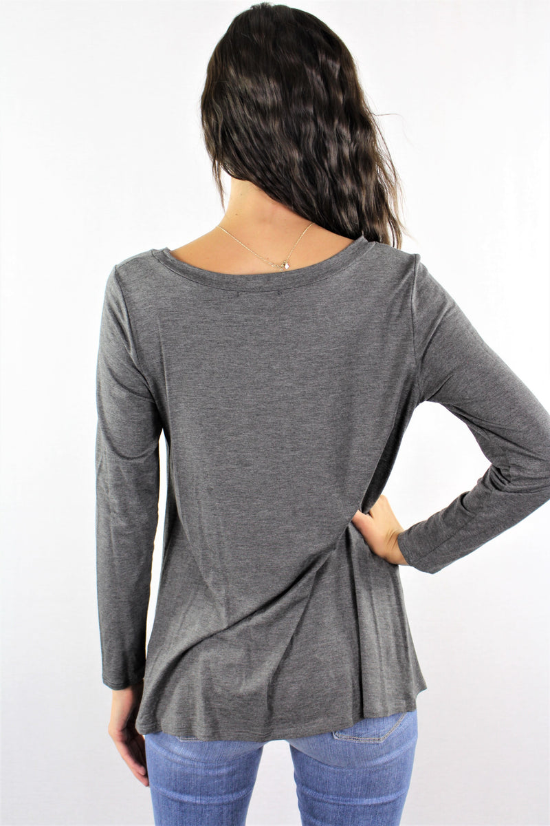 Women's Long Sleeve Loose Fitting Top with Front Twist