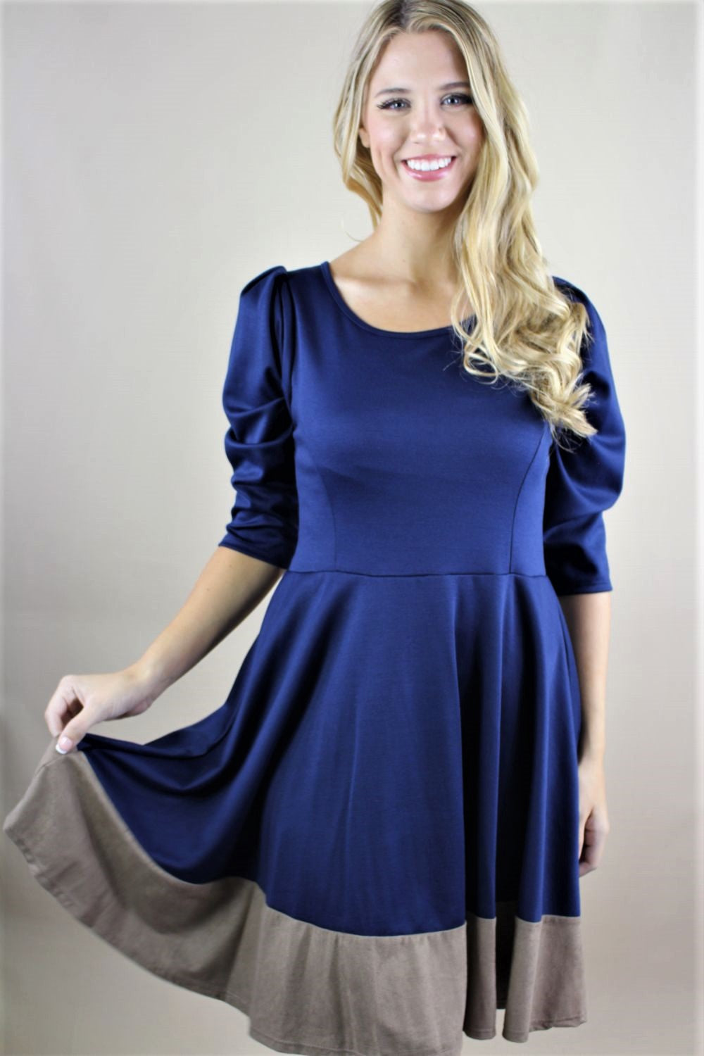 Women's 3/4th Sleeve Dual Tone Princess Dress