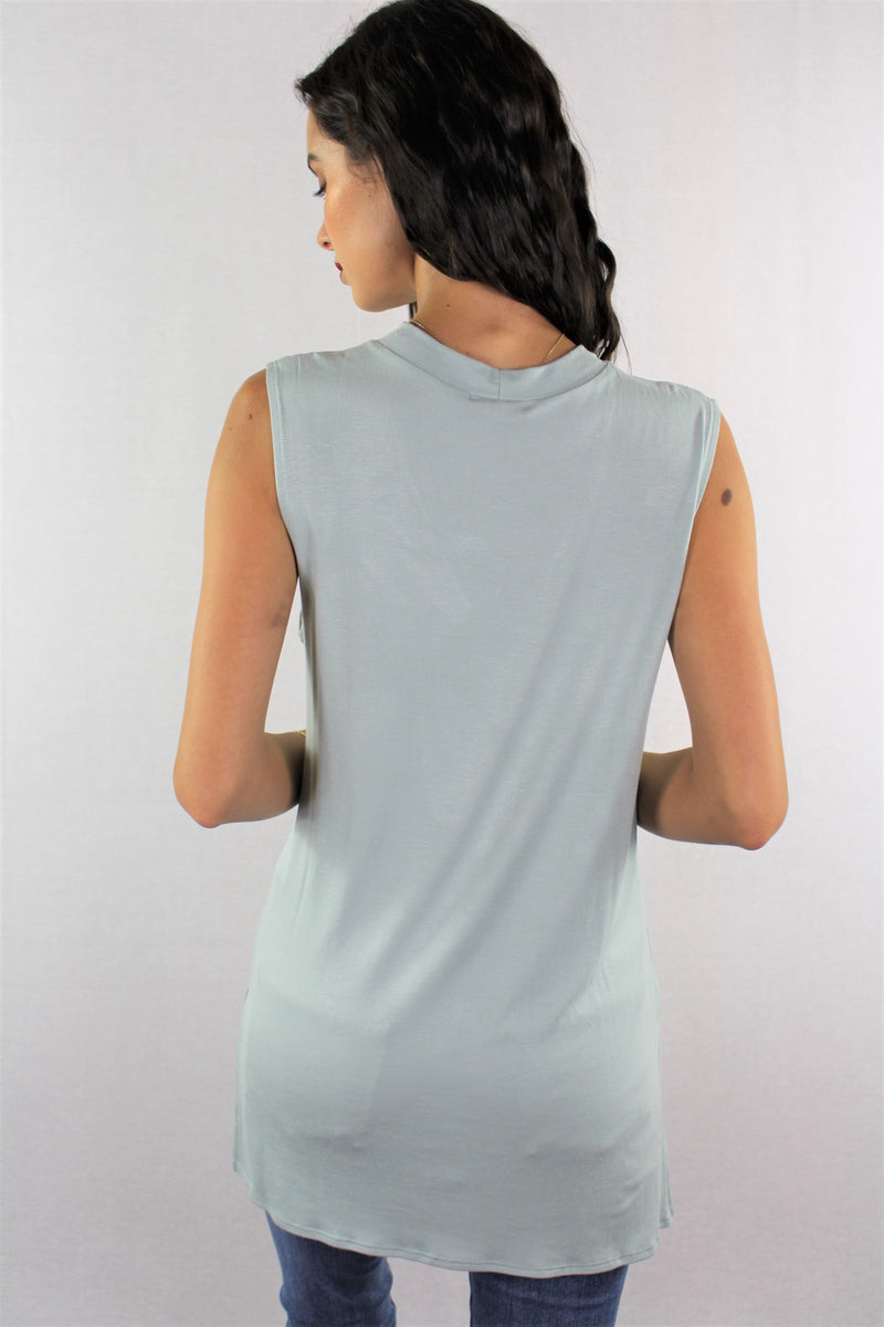 Sleeveless Top with Criss Cross Detail