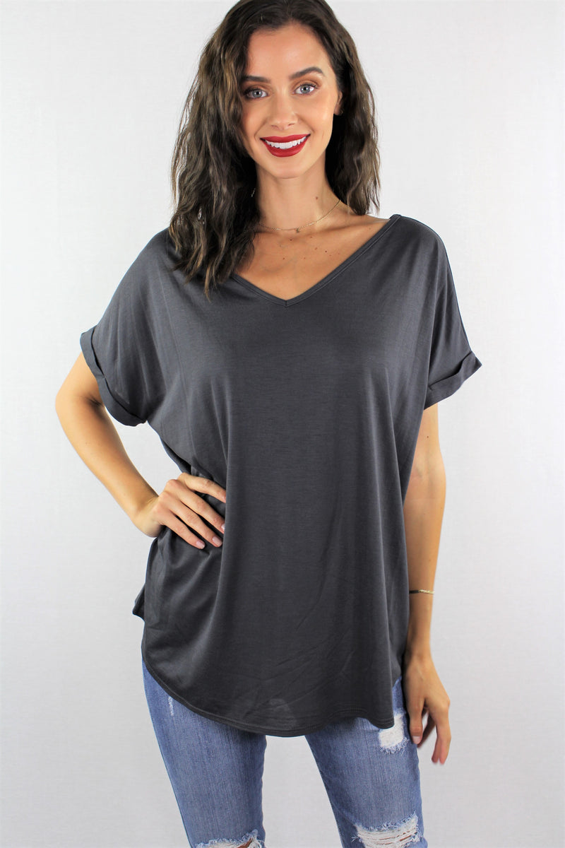 Short Sleeve V Neck Relaxed Fit Top