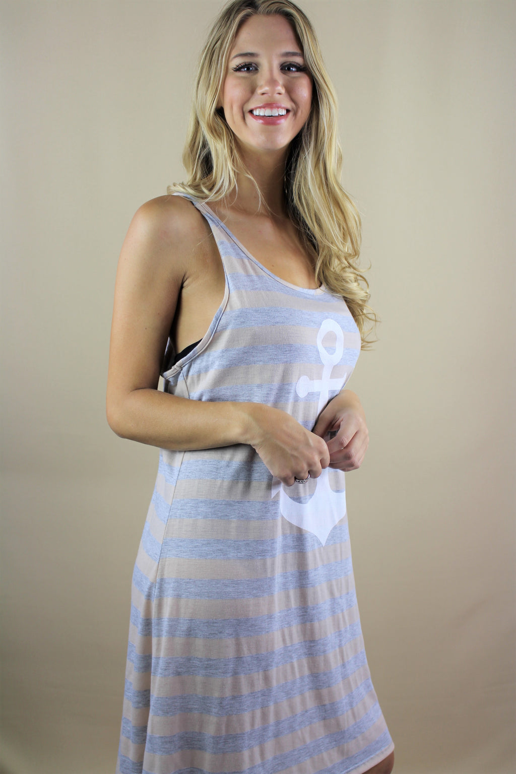 Women's Sleeveless Stripe Dress with Anchor Print