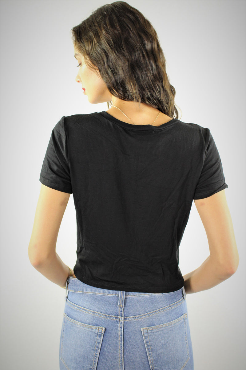 Short Sleeve Crop Top with Front Twist