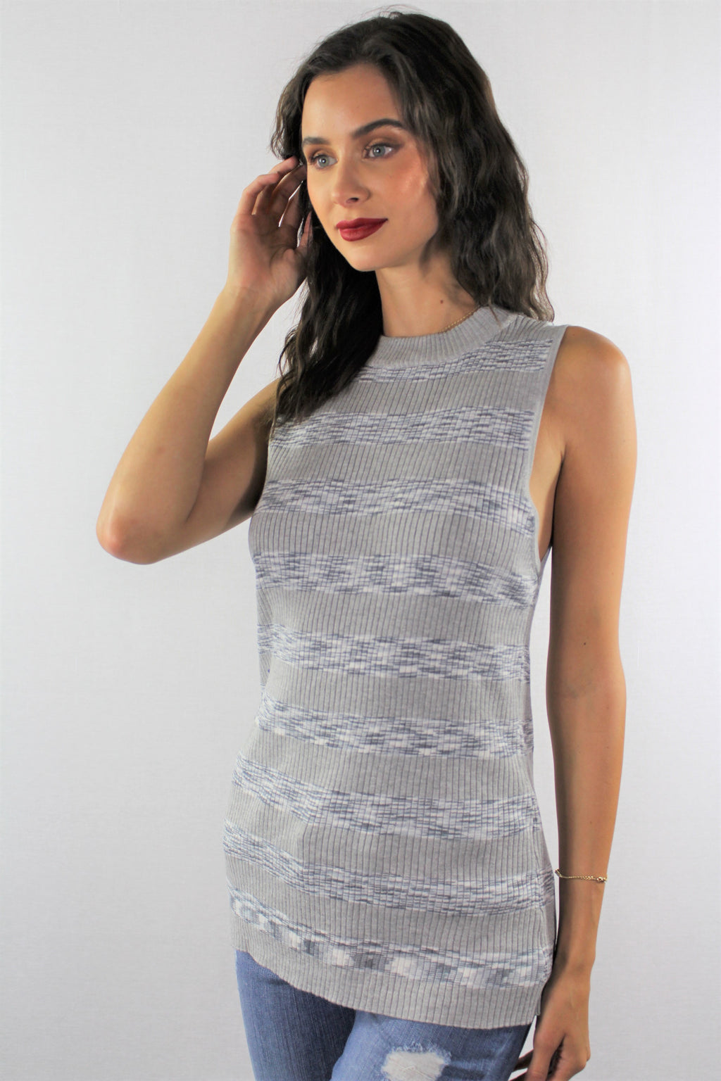Women's Sleeveless Top with Stripe Detail