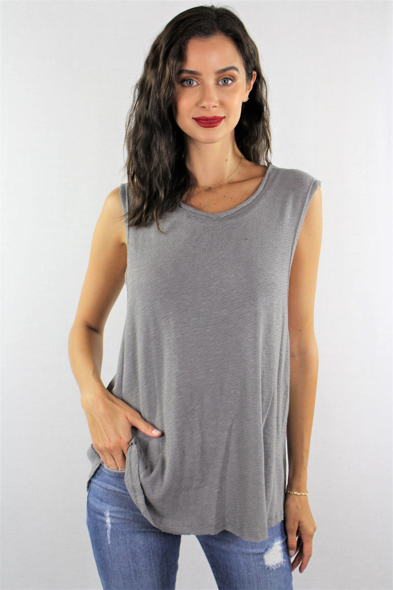 Wide Arm Sleeveless Relaxed Fit Top
