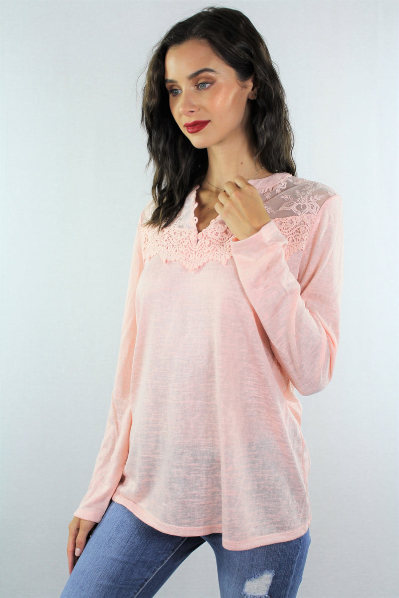 Women's Long Sleeve Top with Lace Detail