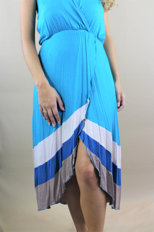 Women's Open Back Halter Dress with Stripe Design
