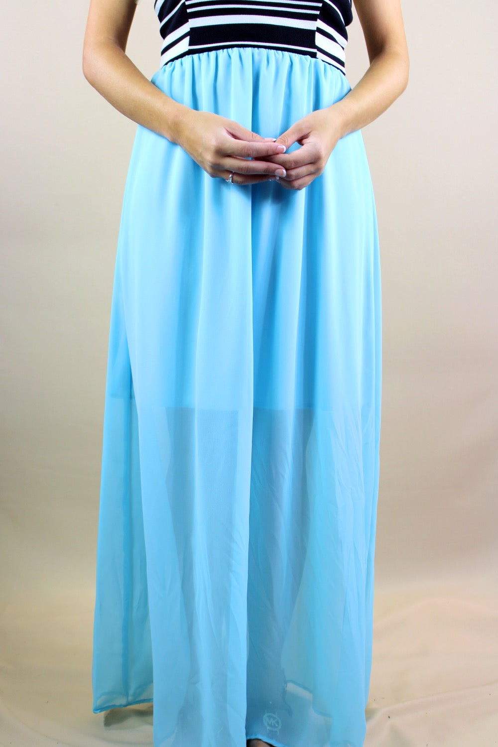 Women's Two Tone Tube Style Maxi Dress